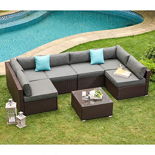 (COSIEST 7-Piece Outdoor Patio Furniture Chocolate Brown Wicker Executive Sectional Sofa w Dark Grey Thick Cushions, Glass-Top Coffee Table, 2 Turquoise Pillows Incl. Waterproof Cover,)