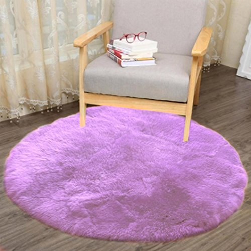 Price comparison product image Bokeley Soft Artificial Sheepskin Rug Chair Cover Artificial Wool Warm Hairy Carpet Seat (Purple,  30cm)
