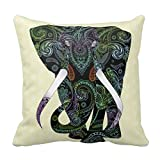 Black Elephant In Paisley Pattern Throw Pillow Case 18x18