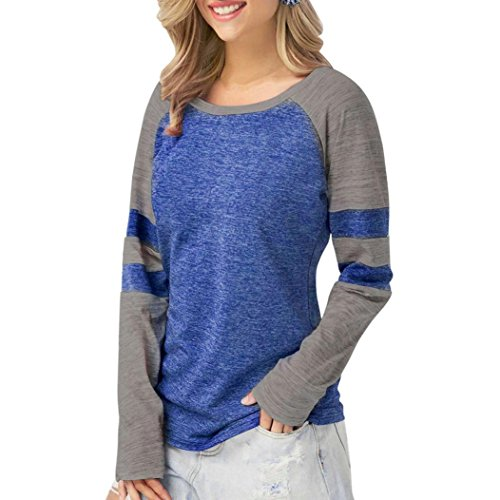 ❤️ Clearance Multi-Color Stitching Top Fashion Women Ladies Long Sleeve Splice Blouse Tops Clothes T Shirt Stitching Long Sleeve Duseedik ()