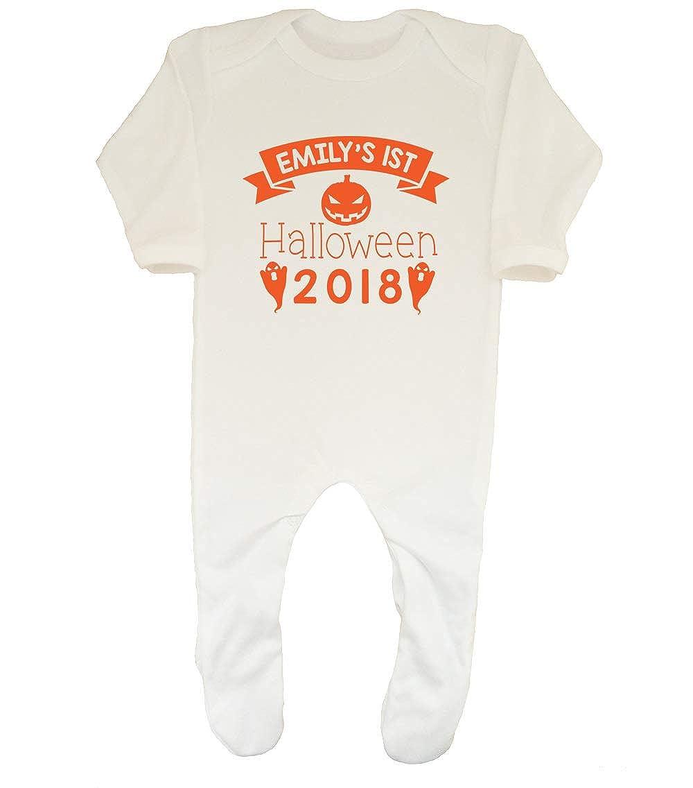 Shopagift Baby Personalised Any Name 1st Halloween Boys Girls Orange Sleepsuit Romper