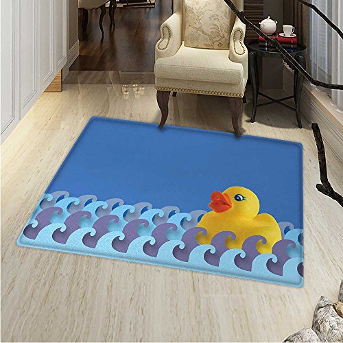 (Rubber Duck Small Rug Carpet Rubber Duck Floating on Paper Seem Water Waves Bathroom Time Childcare Image Door mat Indoors Bathroom Mats Non Slip 2'x3' Multicolor)