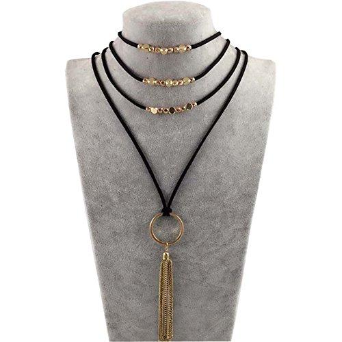JRui Gothic collar multi-layer velvet necklace Bohemian Chain tassel necklace for Women(Series 2)