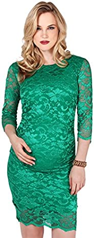 KRISP Maternity Womens Lace 3/4 Sleeve Stretch Mini Pencil Dress
