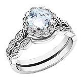 Dazzlingrock Collection 14K White Gold 5.5 MM Cushion Gemstone & Round Diamond Ladies Halo Style Engagement Ring Set