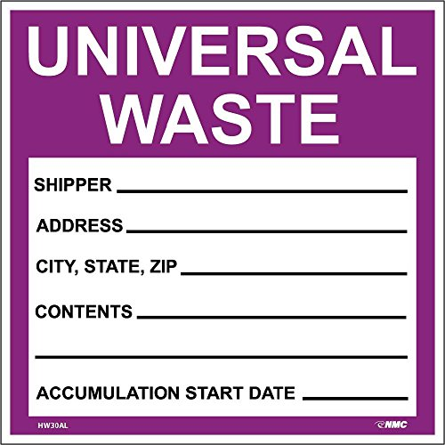 National Marker Corp. HW30AL Labels, Hazardous Materials Shipping, Universal Waste, 6 Inch X 6 Inch, PS Paper, 500/Roll - Hazardous Labels Shipping