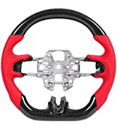KIMISS Steering Wheel, Carbon Fiber Steering Wheel Nappa Preforated Leather W/Red Stitching Fit f...