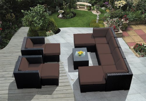 Genuine Ohana Outdoor Patio Sofa Wicker Sectional Furniture 11pc Couch Set with Free Patio Cover