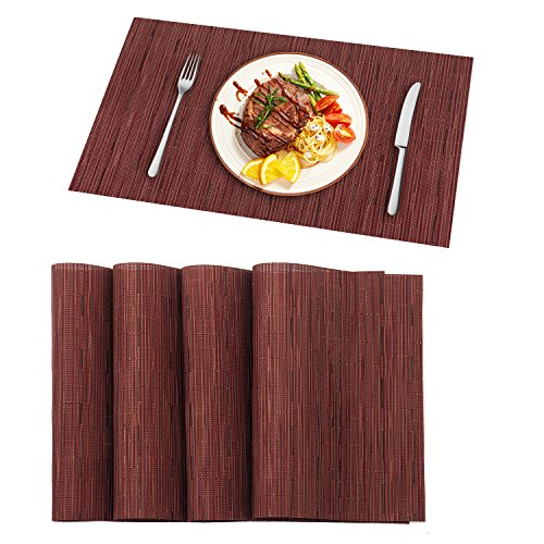 Pauwer Placemats Set of 8 Washable Woven Vinyl Placemat for Dining Table Heat Resistant Non-Slip Kitchen Table Place Mats Wipe Clean (8pcs Placemats, Red)