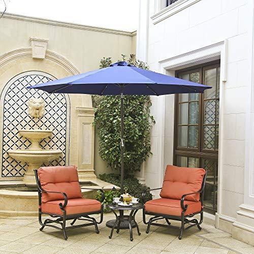 Aok Garden 10ft Patio Umbrella Outdoor Table Umbrella Parasol Aluminum Market Umbrella with Push Button Tilt and Crank (Parasols Big Garden)