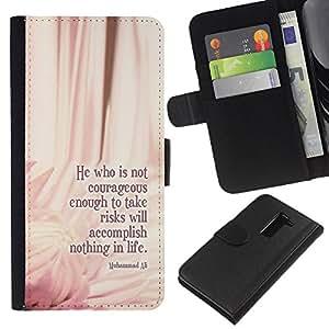 KLONGSHOP // Tirón de la caja Cartera de cuero con ranuras para tarjetas - Ali Boxeo cotización Mensaje Floral Pink - LG G2 D800 //