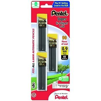 Pentel Super Hi-Polymer Lead Refills, 0.9 mm, 90 Pieces (C29BPHB3)