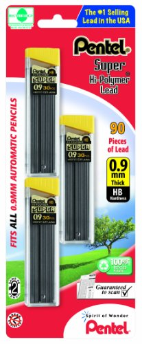 Pentel Super Hi-Polymer Lead Refills, 0.9 mm, 90 Pieces (C29BPHB3) (Refill Pencil Pentel)