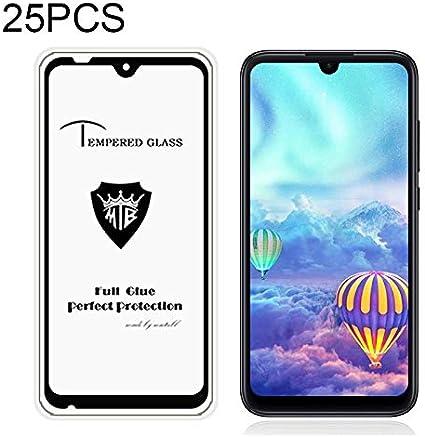 Color : Black Black Glass Film DESHENG Clear Screen Protector 25 PCS MIETUBL Full Screen Full Glue Anti-Fingerprint Tempered Glass Film for Xiaomi Mi Play