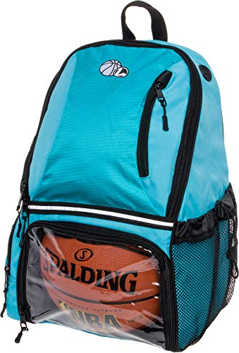 - LISH Basketball Backpack - Large School Sports Bag w/Ball Compartment (Aqua)