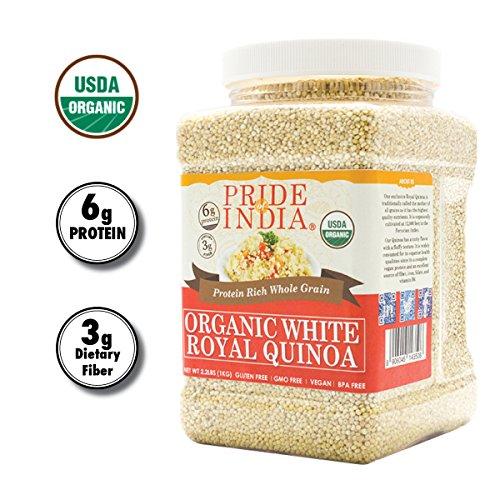 Pride Of India - Organic White Royal Quinoa - Superior Grade Whole Grain, 2.2 Pound (1 Kilo) Jar + EXTRA 50% PRODUCT FREE ( 1 KG + 0.50 KG FREE = 1.50 KG (3.30 LBS)