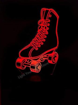 Modernos patines de ruedas con sensor de cambio de color 3D, luz nocturna, atmósfera