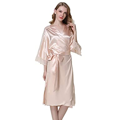 7062e17fff HiSexy Womens Long Sleeve Pajama Set Silk Robe Kimono Sleepwear Champagne