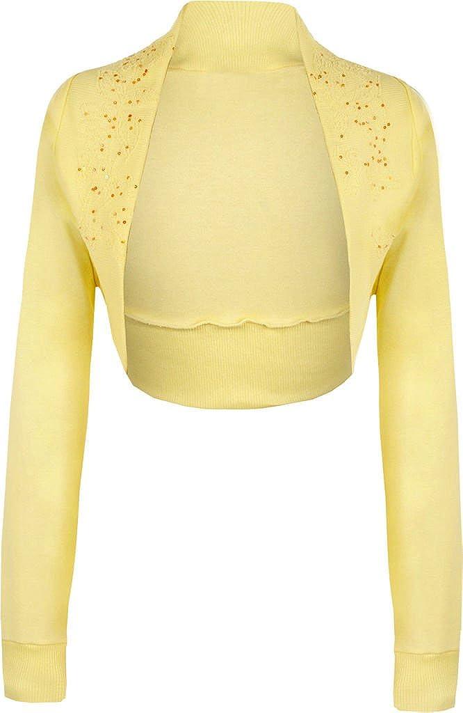 Women's Ladies Long Sleeve Beaded Bolero Shrug Cardigan Top