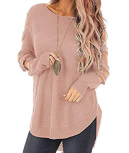 Ferbia Ladder Cut out Long Sleeve Knit Sweater Solid Jumper for Women ()