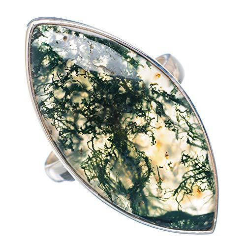 Large Green Moss Agate Ring Size 10.25 (925 Sterling Silver) - Handmade Boho Vintage Jewelry RING910069 ()