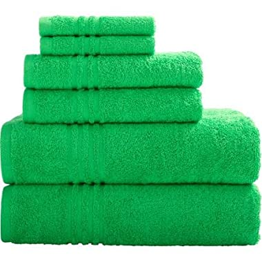Mainstays Essential True Colors Bath Towel Collection, 6-Piece Set (Green)