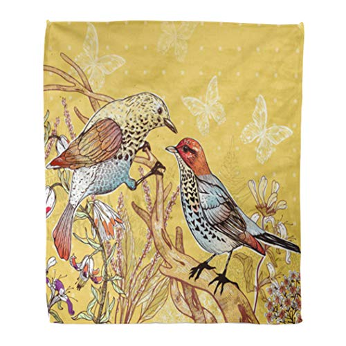 """Emvency 50"""" x 60"""" Super Soft Throw Blanket Vintage Floral of Two Forest Birds and Blooming Flowers Hand Botanical Doodle Couple Home Decorative Flannel Velvet Plush Blanket"""