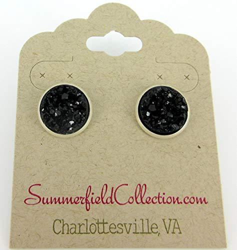 Silver-tone Black Faux Druzy Stone Stud Earrings 12mm ()