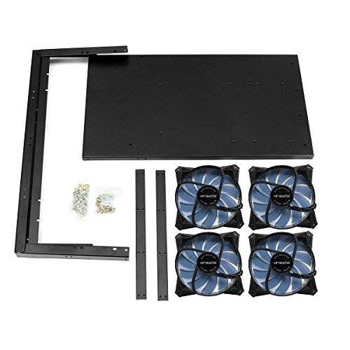 6/8 GPU BTC LTC ETH Ethereum Open Air Steel Coin Mining Miner Frame Rig Case with 4 PCS 120mm Quiet Edition LED Case Fans(Blue)