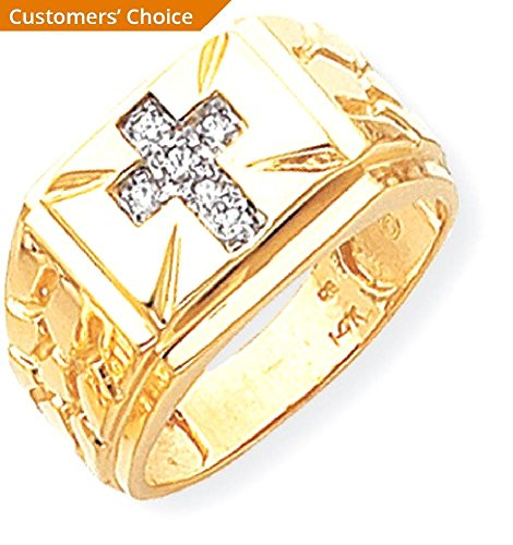 ICE CARATS 14k Yellow Gold Diamond Mens Band Ring Size 10.00 Man Religious Fine Jewelry Dad Mens Gift Set by ICE CARATS (Image #3)