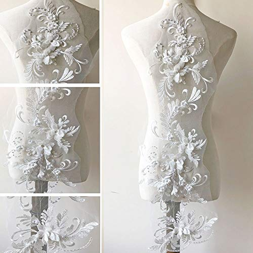 3D Beaded Flower Embroidery Lace Patch Applique Crystal Sewing Lace Motif for Dance Costumes Ballgown Off-White Color