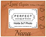Grandma Gifts Fell In Love When I Became Nana Natural Wood Engraved 5x7 Landscape Picture Frame Wood
