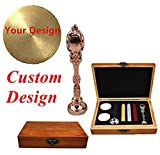 MNYR Custom Picture Logo Monogram Luxury Rose Gold Metal Peacock Handle Wedding Invitations Gift Cards Stationary Wax Seal Sealing Stamp Wax Sticks Melting Spoon Stamp Maker Wood Gift Box Kit Set