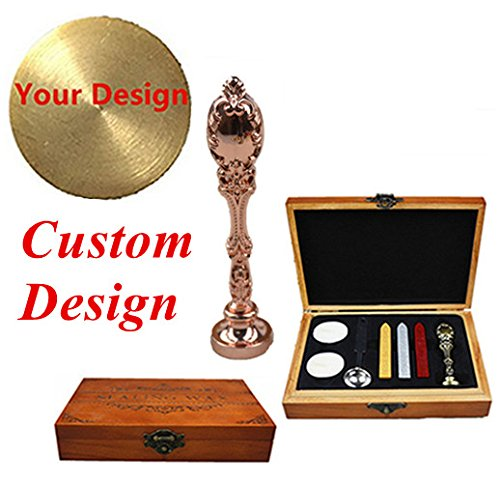 - MNYR Custom Picture Logo Monogram Luxury Rose Gold Metal Peacock Handle Wedding Invitations Gift Cards Stationary Wax Seal Sealing Stamp Wax Sticks Melting Spoon Stamp Maker Wood Gift Box Kit Set