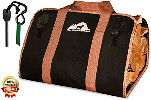 Northern Outback Firewood Log Carrier Canvas Wood Tote with FREE BONUS 8mm Magnesium Fire Starter - Best for Fireplaces - Wood Stoves - Firewood - Logs - Camping - Beaches - Landscaping