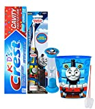 """Thomas & Friends"" 4pc Bright Smile Oral Hygiene Set! Thomas Turbo Powered Spin Toothbrush, Toothpaste, Brushing Timer & Mouthwash Rinse Cup! Plus Bonus ""Remember To Brush"" Visual Aid!"