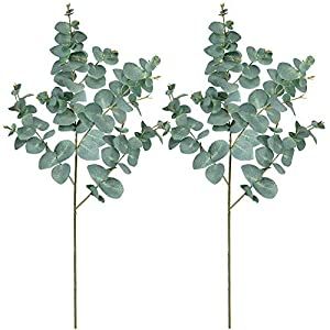 "Supla 2 Pack 39"" Tall Artificial Eucalyptus Leaves Plant Greenery Tall Stems Faux Blue Eucalyptus Fake Baby Eucalyptus Leaves Spray for Boho Vintage Wedding Floral Centerpieces Eucalyptus Greens Decor 35"