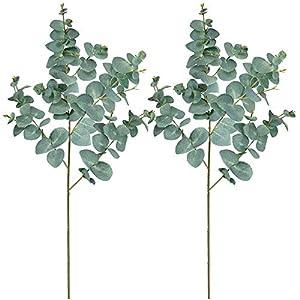 "Supla 2 Pack 39"" Tall Artificial Eucalyptus Leaves Plant Greenery Tall Stems Faux Blue Eucalyptus Fake Baby Eucalyptus Leaves Spray for Boho Vintage Wedding Floral Centerpieces Eucalyptus Greens Decor 36"