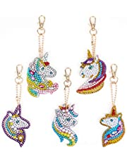 MWOOT DIY Diamond Painting Keychain with Unicorn Pattern,5D Full Drill Diamond Rhinestone Key Chains Mosaic Making Crafts for Bag Purse Handbag Charms Pendant
