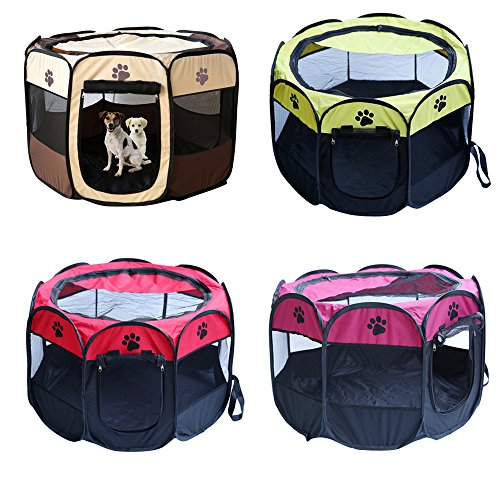 1Pc Foldable Octagonal Pet Tent Dog House Bed Cage Cat Tent Kennel Fence Indoor Outdoor