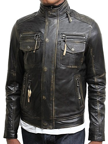 Les Veste Crinkle Hommes Noir Biker Style Lavé Vintage Brandslock Tous Cuir En Rétro ZXqtI7