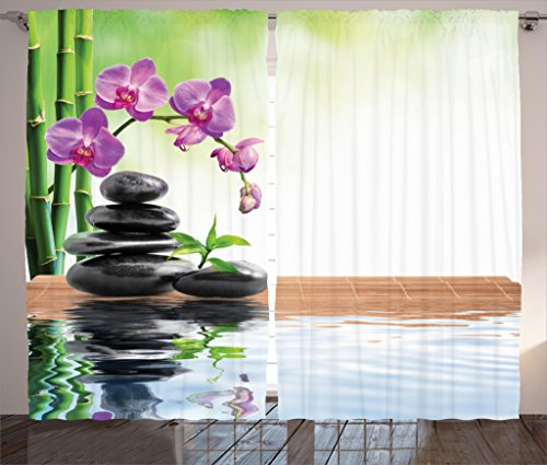 Ambesonne Spa Decor Curtains by, Spa with Spring Water and Health Giving Properties Asian Eastern Way of Getting Better Art Photo, Living Room Bedroom Decor, 2 Panel Set, 108W X 84L Inches, Multi by Ambesonne (Image #1)