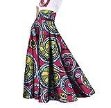 Winwinus Women's Long Dashiki African Print Stylish Plus Size Party Skirt 6 M