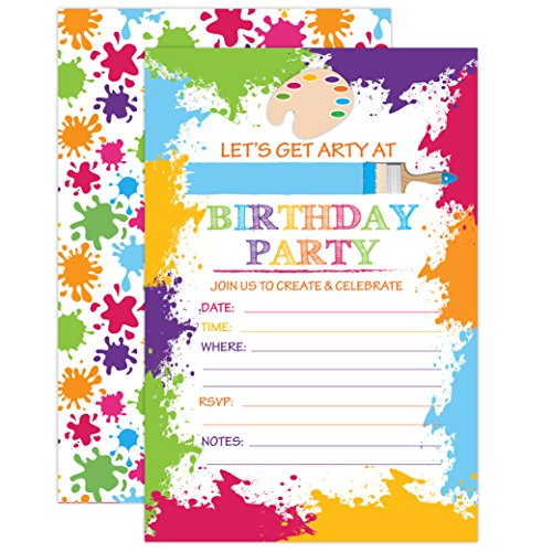 (Paint Art Party Invitation, Craft Art Paint Party Invites, 20 Fill In Paint Party Invitations With)
