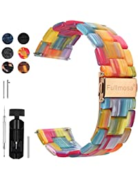 6 Colors for Quick Release Watch Band 20mm 18mm 22mm, Fullmosa Bright Resin Replacement Watch Strap 20mm Rainbow