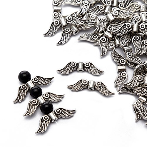 23 Mm Wing - BRCbeads Top Quality 6.5x23mm Angle Wings Style #1 Tibetan Silver Metal Spacer Beads 50pcs per Bag For Jewelry Making Findings