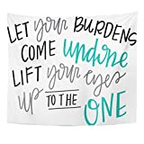 Breezat Tapestry Christian Let Your Burdens Come Undone Spiritual Quote Jesus Home Decor Wall Hanging for Living Room Bedroom Dorm 50x60 Inches