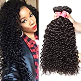 Jolia Hair Virgin Brazilian Curly Hair Weave 3 Bundles, 7A Unprocessed Brazilian Virgin Human Hair Weave Extensions, Natural Black Hair Color, Can be Dyed and Bleached (8 10 12inches)