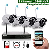 OOSSXX 8CH 1080P HD Wireless Video Security Camera System,4PCS 960P Megapixel Wireless Weatherproof Bullet IP Cameras,Plug and Play,70FT Night Vision,P2P,App, HDMI Cord&1TB HDD Pre-install