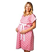 Posh Pushers Maternity Hospital Gown-Pretty Designer Labor and Delivery Gown - Replaces Standard Pregnancy Gowns,Darby Print,Small